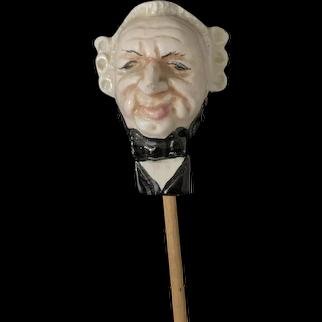 Old Doll Head George Washington on Wood Stick Doll Cane Sculpted Head