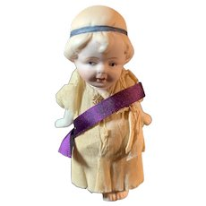 """Cute Vintage All Bisque Doll Jointed Arms Original Crepe Paper Dress 4.5"""""""