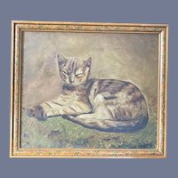 Wonderful Old Antique Cat Oil on Canvas Painting Painted Frame Folk Art