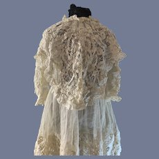 Antique Doll Dress Lace FAB French Market Embroidery Cape Collar GORGEOUS