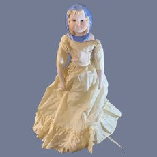 Old Emma Clear Artist Doll W/ Molded Scarf Glass Eyes 1949 W/ Dress and Corset