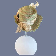 Old Doll Straw Hat Bonnet Feathers Lace Charming