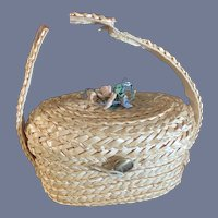 Sweet Vintage Doll Straw Basket Purse W/ Brass Hook Button Closure