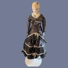 Wonderful Emma Clear 1946 Molded Collar Glass Eyes FAB Doll Dress W/ Train & Corset