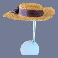 Old Doll Straw Bonnet Hat Fancy Trim Wonderful Shape
