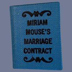 Vintage Doll Miriam Mouse's Marriage Contract Miniature Dollhouse Hardback Book Miriam Owen Irwin