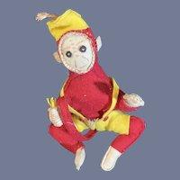 Vintage Unusual Felt Monkey W/ Banana's Felt Bell Hop