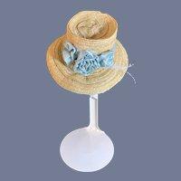 Wonderful Old Doll Straw Hat Bonnet W/ Silk Pleated Lining Fancy Rosettes French Market Fashion Doll