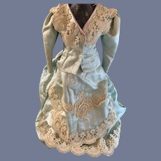 Wonderful Old Doll Two Piece Outfit Skirt Jacket French Market Silk Embroidery Fancy