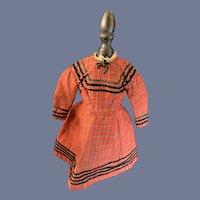 Antique Doll Dress Wool W/ Velvet Trim Plaid