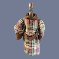 Old Wool Doll Coat W/ Matching Cuffs Collar and Belt Charming Jacket
