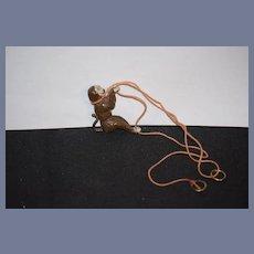 Antique Doll Toy Miniature Monkey Climbing Metal