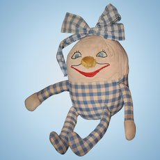 Old Doll Cloth Humpty Dumpty Rag Doll Adorable