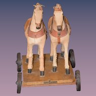 Antique Doll Pull Toy Two Horses Miniature Adorable