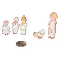 Antique Doll Set All Bisque Miniature Dollhouse Character