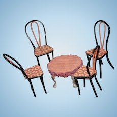 Antique Doll Miniature Bentwood Chairs and Metal Table