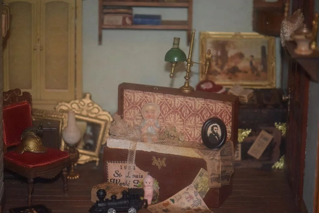 Miniature Children S Bedroom Room Box Diorama: Vintage Doll Miniature Mart Diorama Room Box Dollhouse