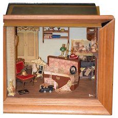 Vintage Doll Miniature Mart Diorama Room Box Dollhouse Signed