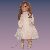 "Large 32"" Antique Doll French Bisque TeTe Jumeau BIG Fancy size 15"