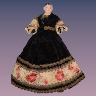 Antique Doll French Miniature FG Painted Bisque Fashion Doll Orig Costume