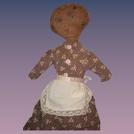 Antique Doll Cloth Black Painted Features Primitive Folk Art