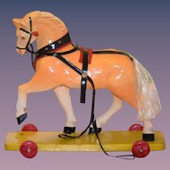 Old Doll Pull Toy Horse For Bisque Wood Horse on Wheels