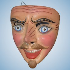Old Doll Papier Mache Mask Wonderful Detail