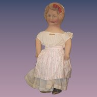 Old Doll Cloth Printed Dressed Large Vivid Color