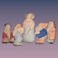 Old Doll Cloth Snow White & Seven DwarfS
