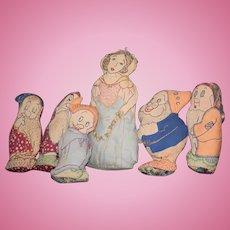 Old Doll Cloth Snow White & Seven DwarfS