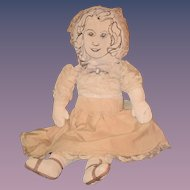 Old Doll Cloth Sewn Features Young Girl