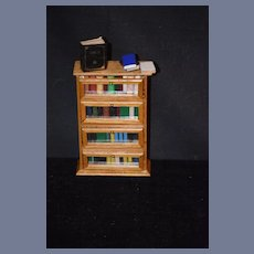 Vintage Doll Miniature Book Case Shelf W/ Books For Dollhouse