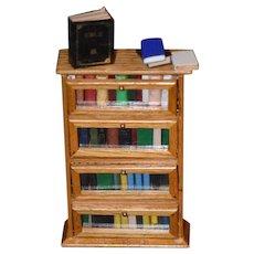 Vintage Doll Miniature Book Case Shelf W/ Books For Dollhouse