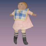 Old Cloth Rag Doll Folk Art Stockinette