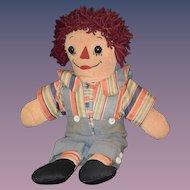 Old Doll Raggedy Andy Asleep & Awake Cloth