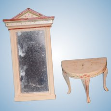 Vintage Doll Dollhouse Miniature French Cottage Mirror & Table Painted Wood Sweet