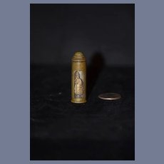 Antique Doll Miniature Religious Icon In Brass & Glass Canister Dollhouse