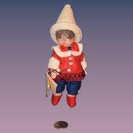 Doll Montedragone Pinocchio Original Bisque Doll W/ Tag WONDERFUL Miniature