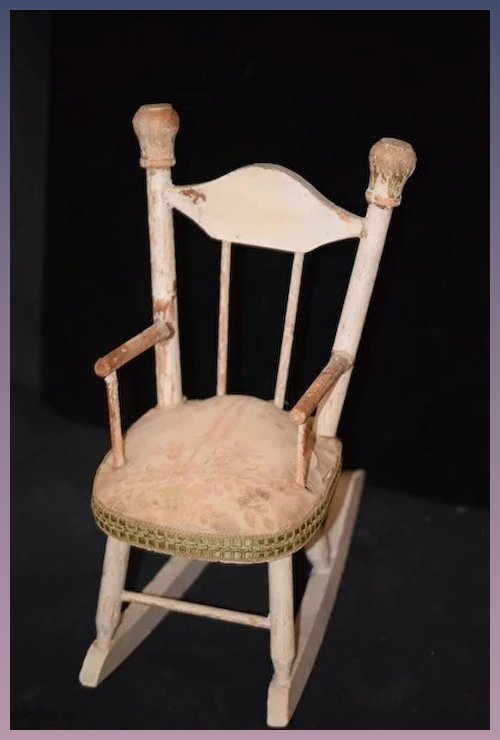 Antique Doll Chair Wood Rocking Chair Old Padded Seat Old Chintz Fabric - Antique Doll Chair Wood Rocking Chair Old Padded Seat Old Chintz