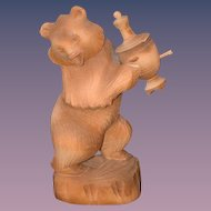 Vintage Teddy Bear Carved Wood W/ Urn