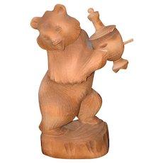 Vintage Teddy Bear Carved Wood W/ Urn