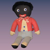 Old Doll Golliwog Black Cloth Doll Wonderful Clothes
