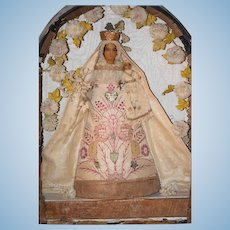 Antique Doll French Diorama Mary with Baby Jesus Poured Wax in Original Box