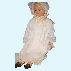 Antique Doll Wax Over Papier Mache Large Dressed Doll Glass Eyes