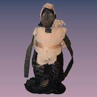 Antique Doll Black Cloth Primitive Unusual Miniature