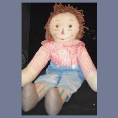 Old Doll Raggedy Andy Cloth unusual Stripe Legs Rag Doll