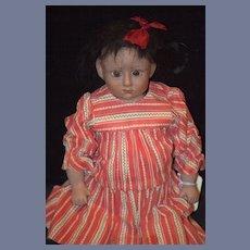 Vintage Doll Black Doll Glass Eyes  NIADA Unusual Wonderful Character Porcelain