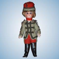 Antique Doll Bisque Mignonette Soldier in Original Clothes &  Glass Dome