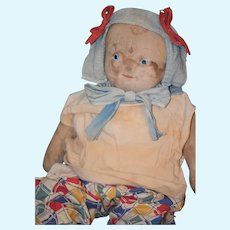 Old Doll Cloth Rag Doll Unusual Painted Features