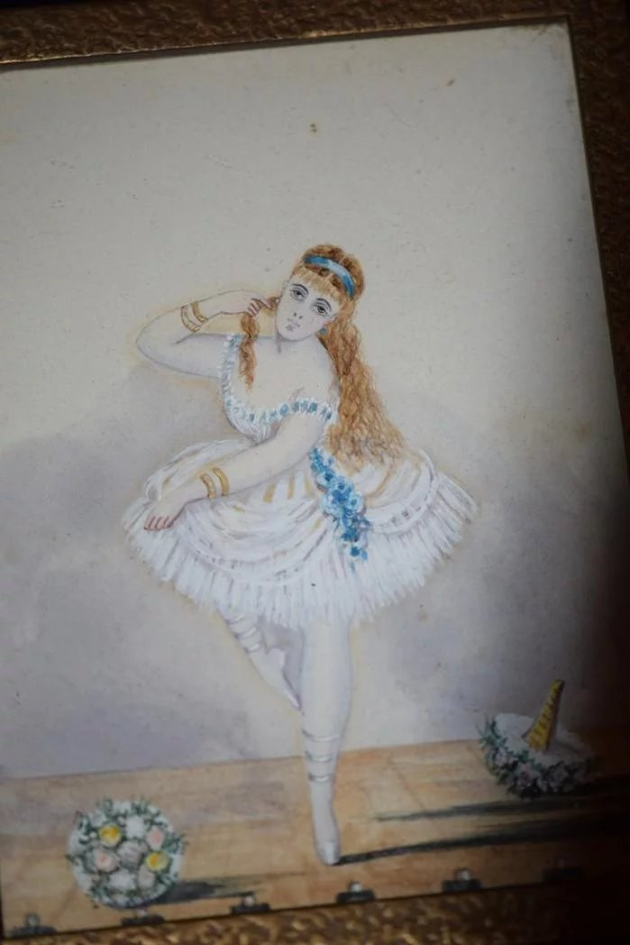 Antique Doll Miniature Ballerina French Girl Painting